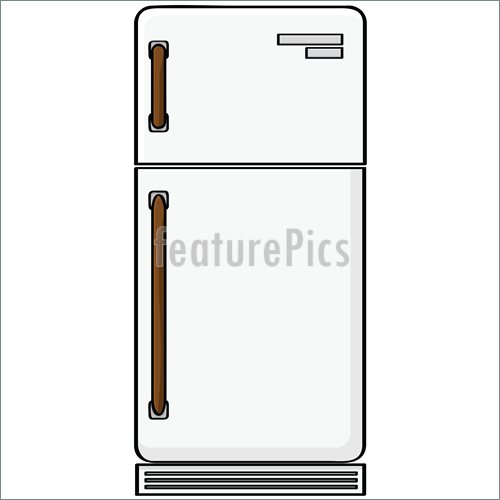 Of Cartoon Illustration Showing An Old Style Refrigerator Model