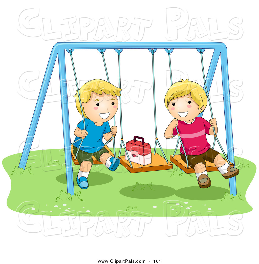 Pal Clipart Of A Pair Of Happy Boys Playing On Swings By Bnp Design