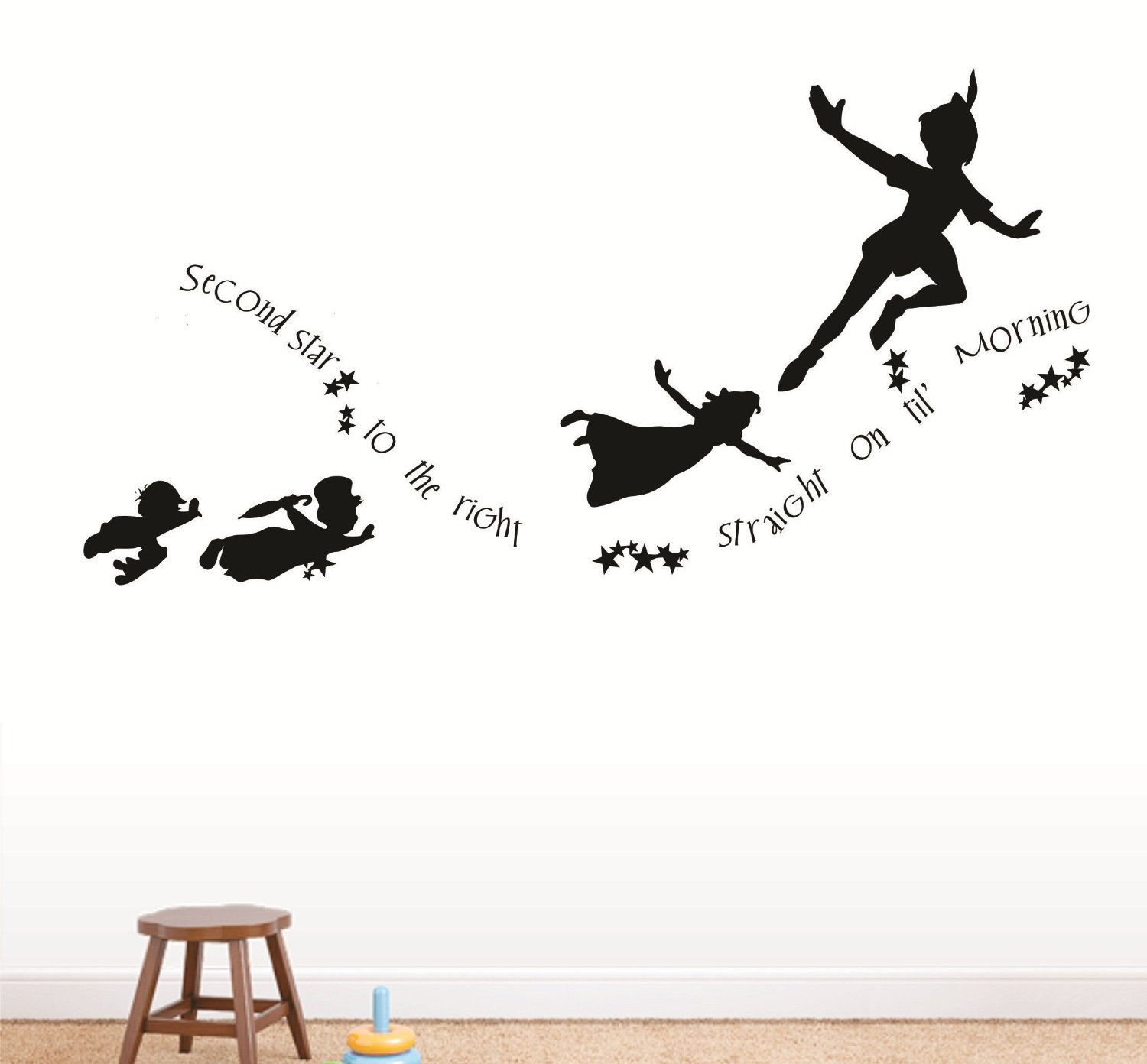 peter pan and wendy flying silhouette tattoo peter pan