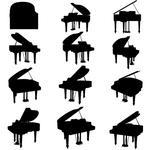 Pianorocksetshapesilhouettessongsoundstringstudiosymboltop