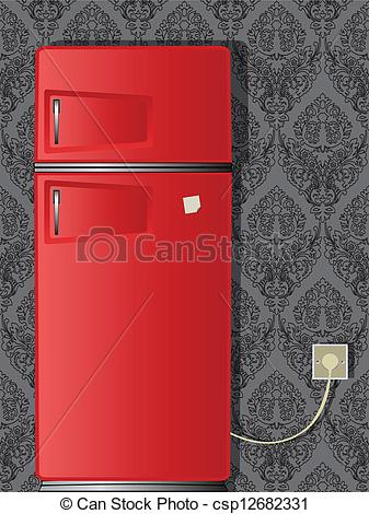 Vectors Of Old Refrigerator   Red Old Refrigerator Against Damask