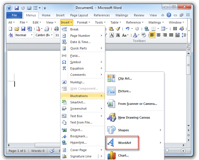 Where Is The Wordart In Microsoft Word 2007 2010 2013 And 2016