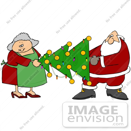 Art Graphic Of Santa Claus And Mrs Claus Moving A Decorated Christmas