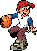 Boy Dribbling Basketball   Clipart Graphic