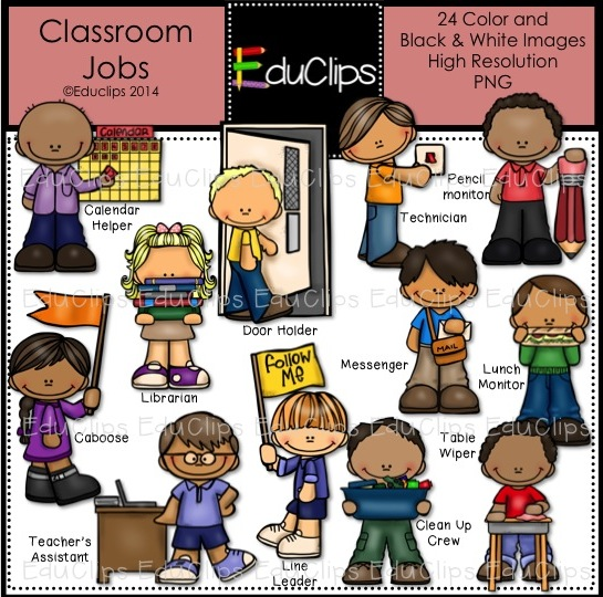Classroom Jobs Clip Art Bundle  Color And B W    Welcome To Educlips