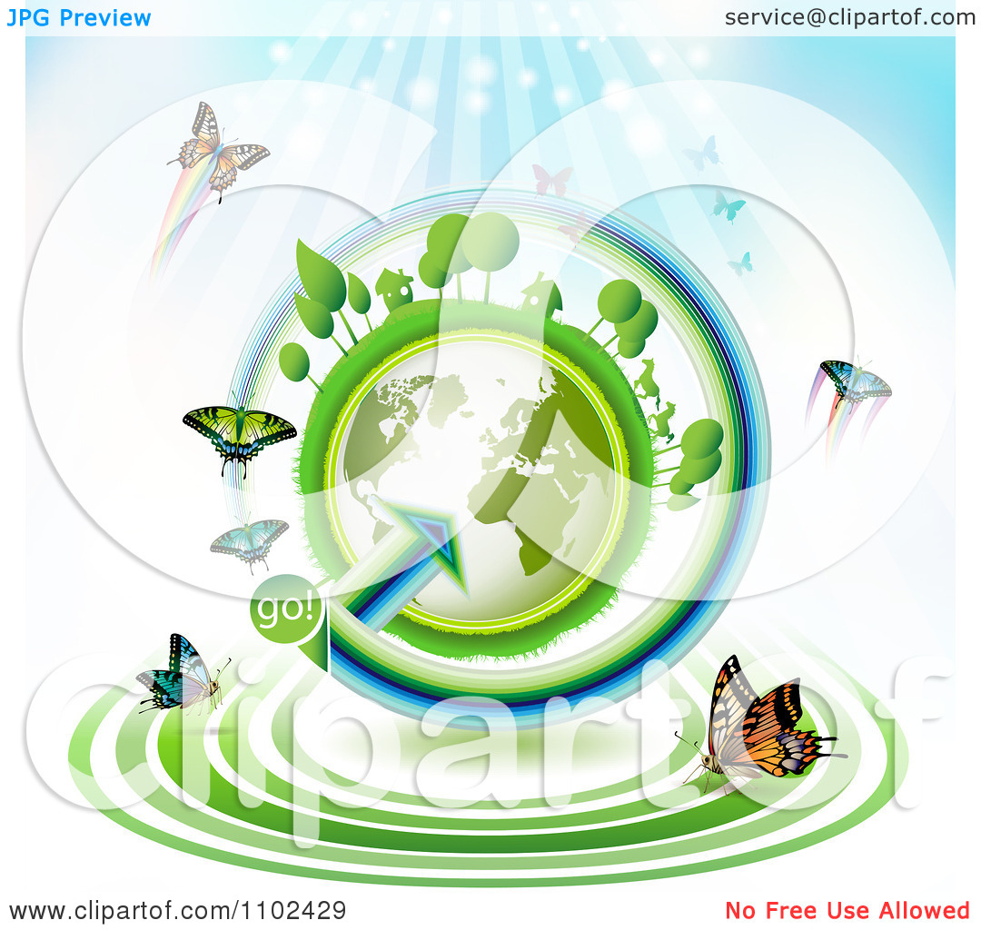 Clipart Butterfly Trail And Globe Background 1   Royalty Free Vector