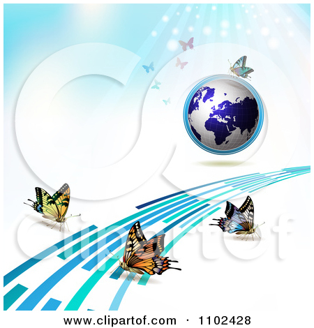 Clipart Butterfly Trail And Globe Background 3   Royalty Free Vector