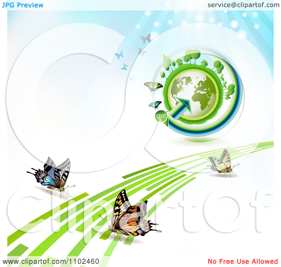 Clipart Butterfly Trail And Globe Background 7   Royalty Free Vector