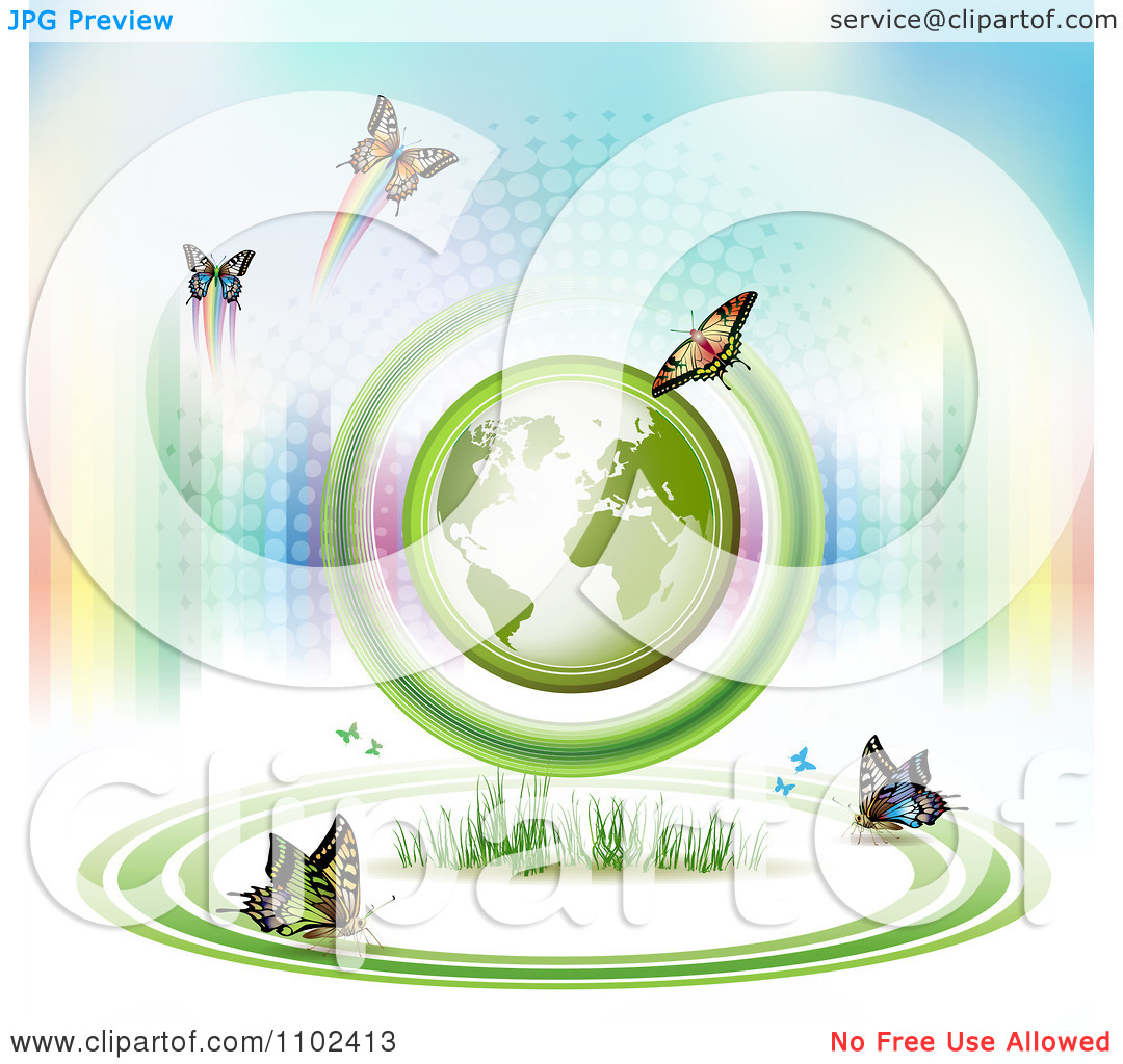 Clipart Butterfly Trail And Globe Background 9   Royalty Free Vector