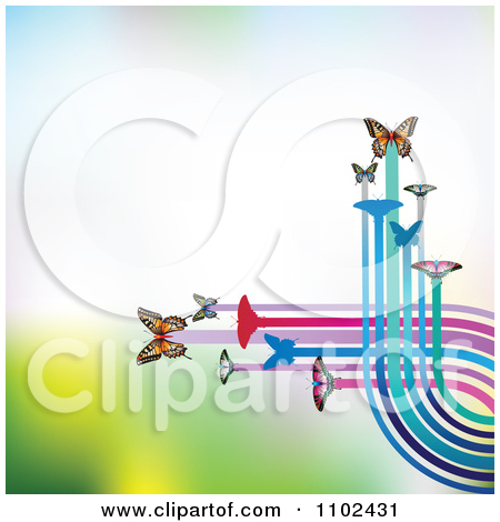 Clipart Butterfly Trail Background 3   Royalty Free Vector