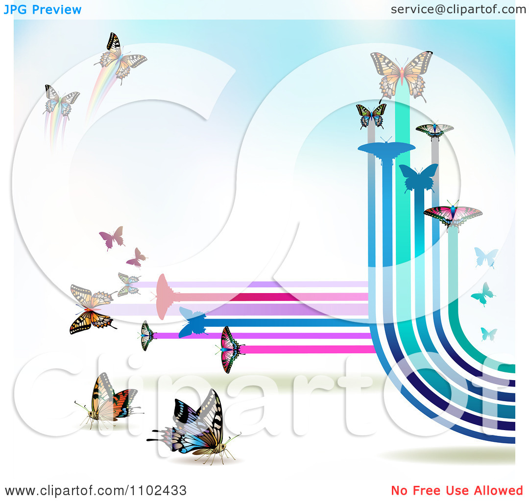 Clipart Butterfly Trail Background 5   Royalty Free Vector