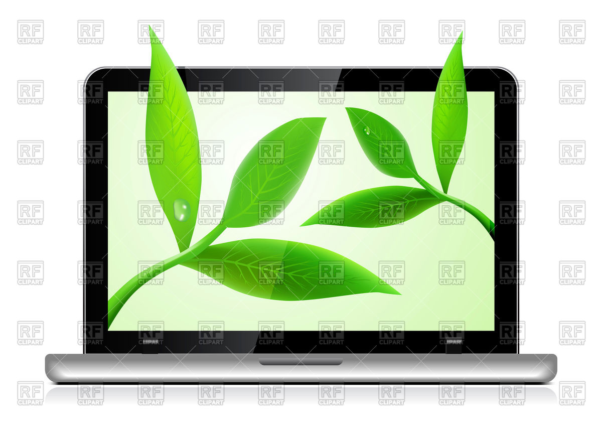 Clipart Catalog   Objects   Laptop With Leaves Download Royalty Free