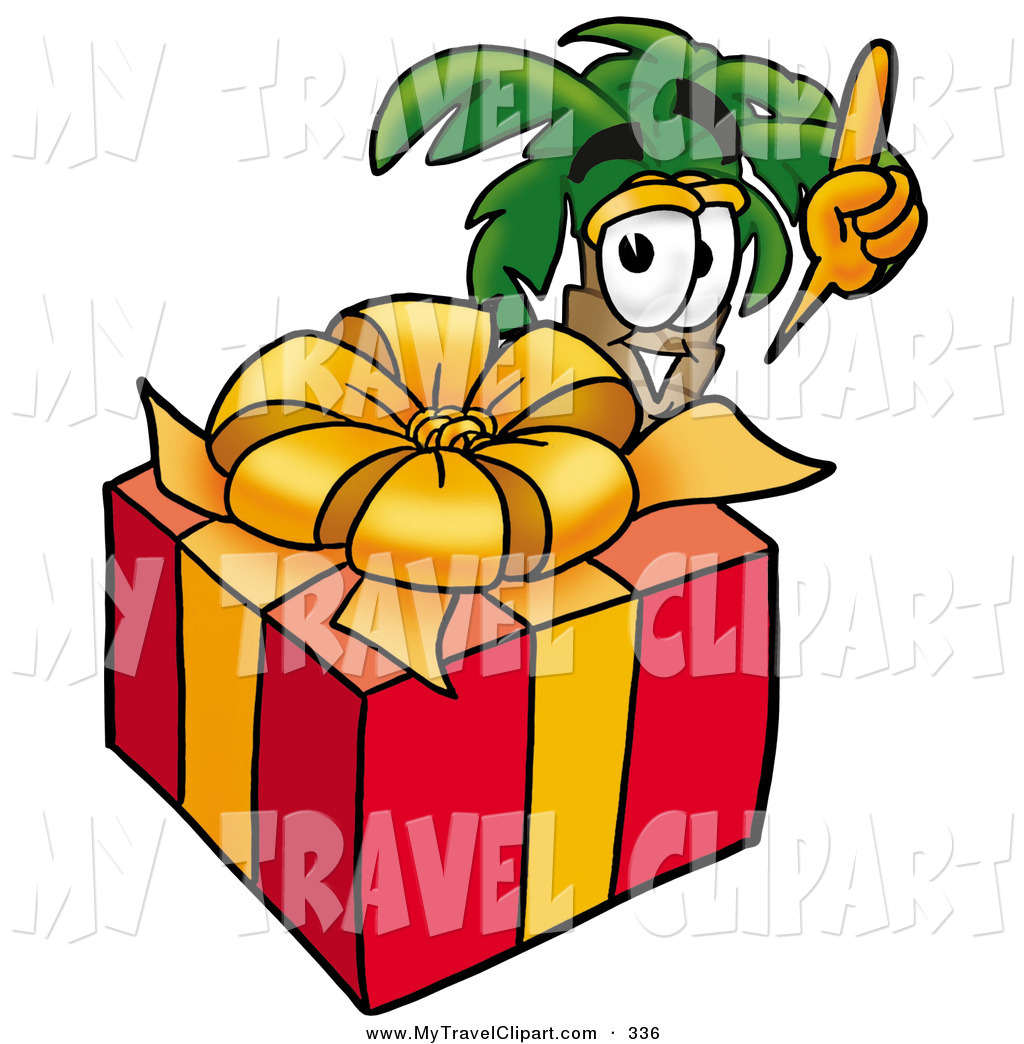 Clipart Of A Cute Tropical Palm Tree Mascot Cartoon Character Standing
