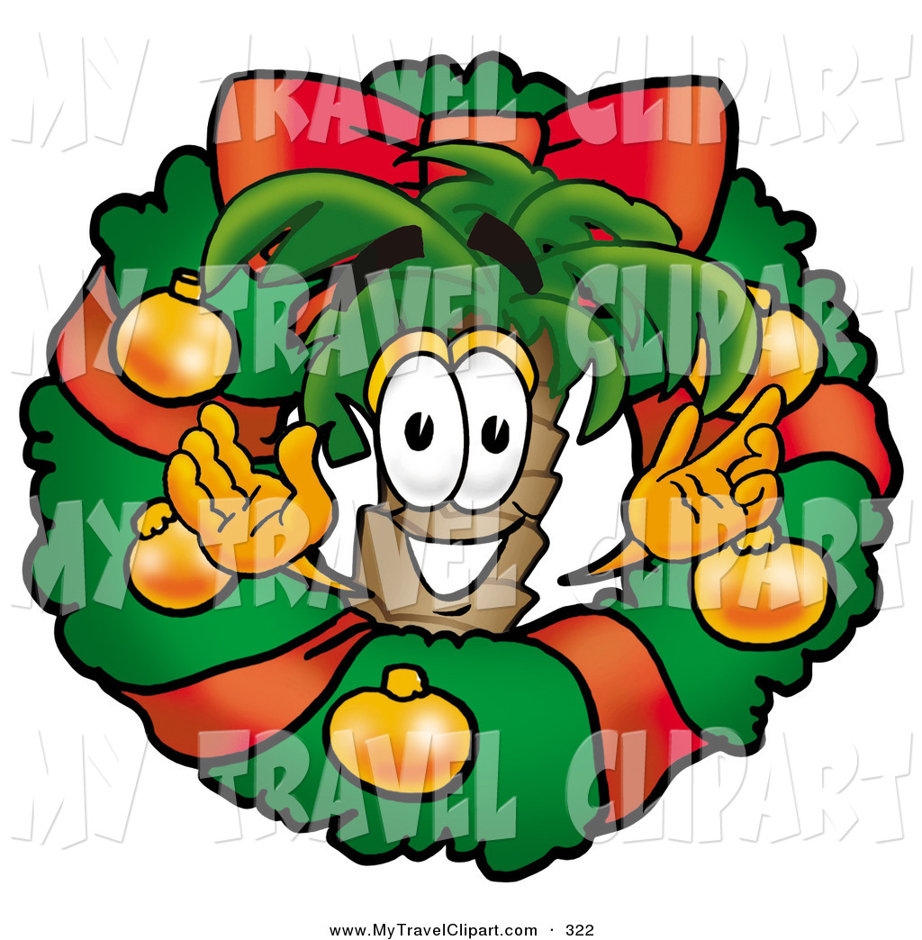 Clipart Of A Festive Tropical Palm Tree Mascot Cartoon Character In