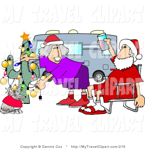 Clipart Of A Redneck Mr  And Mrs  Santa Claus Celebrating Christmas On