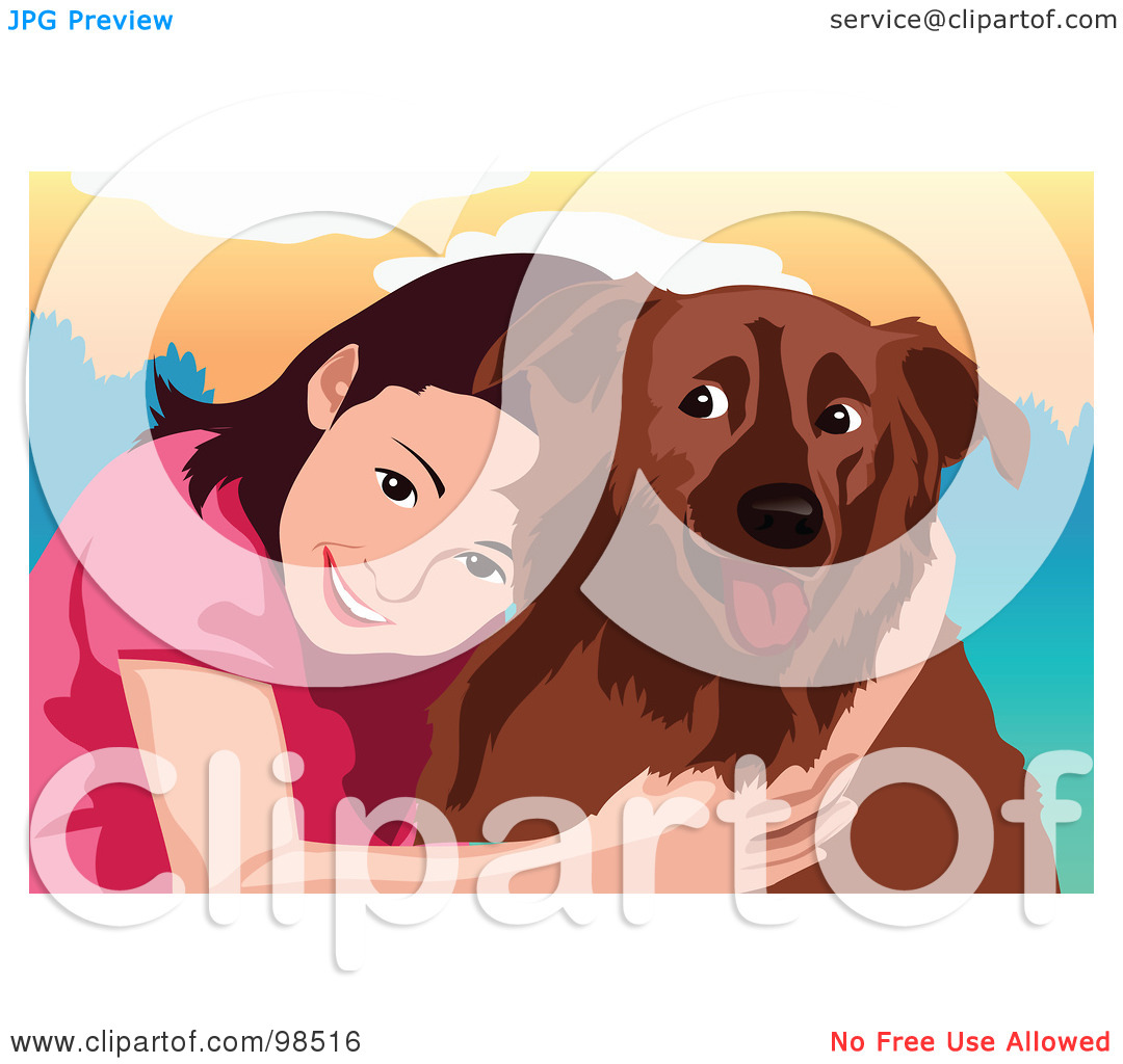 Free  Rf  Clipart Illustration Of A Smiling Girl Hugging Her Dog