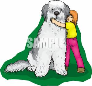 Girl Hugging A Big Sheep Dog   Royalty Free Clipart Picture