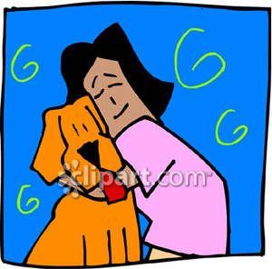 Girl Hugging A Dog   Royalty Free Clipart Picture