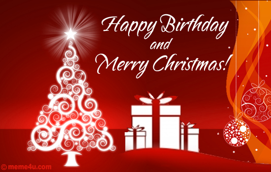 Happy Birthday Greetinng Card   Christmas Wish With Happy Birthday
