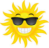 Happy Summer Sun With Glasses Royalty Free Clipart