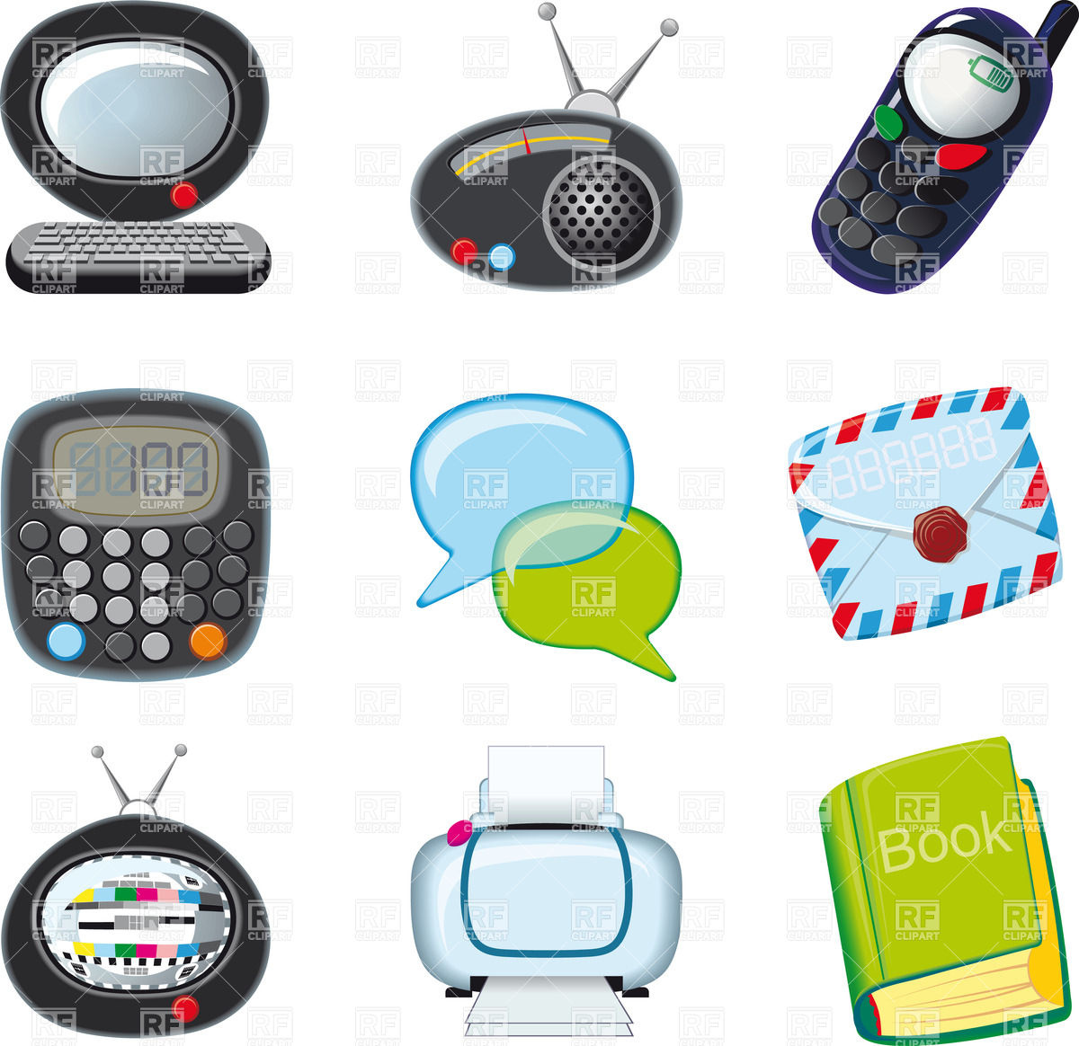 Home And Office Electronics Cartoon Icons 25158 Technology Download