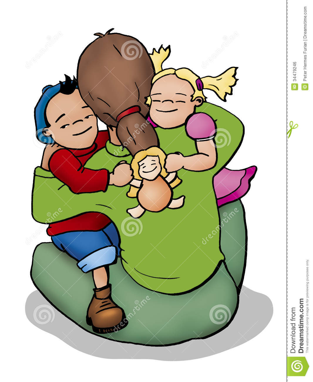 Illustration Of A Mother A Boy And A Girl Hugging