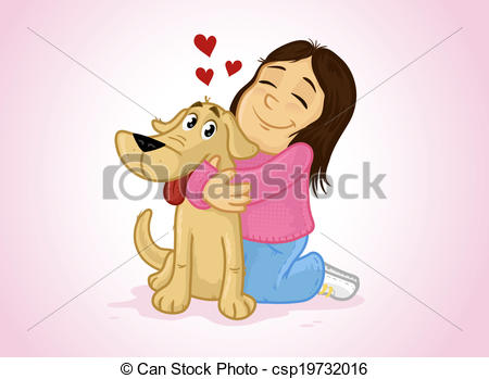 Little Girl Hugging Her Pet Dog Vector    Csp19732016   Search Clipart