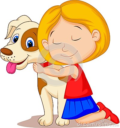 Lovely Cartoon Little Girl Hugging Pet Dog With Passion Royalty Free