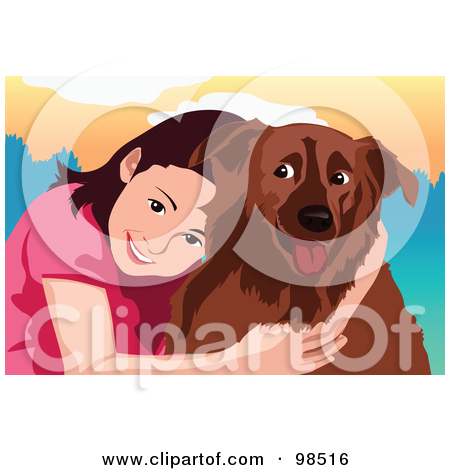 Rf  Clipart Illustration Of A Lonely Boy Hugging His Dog For Comfort