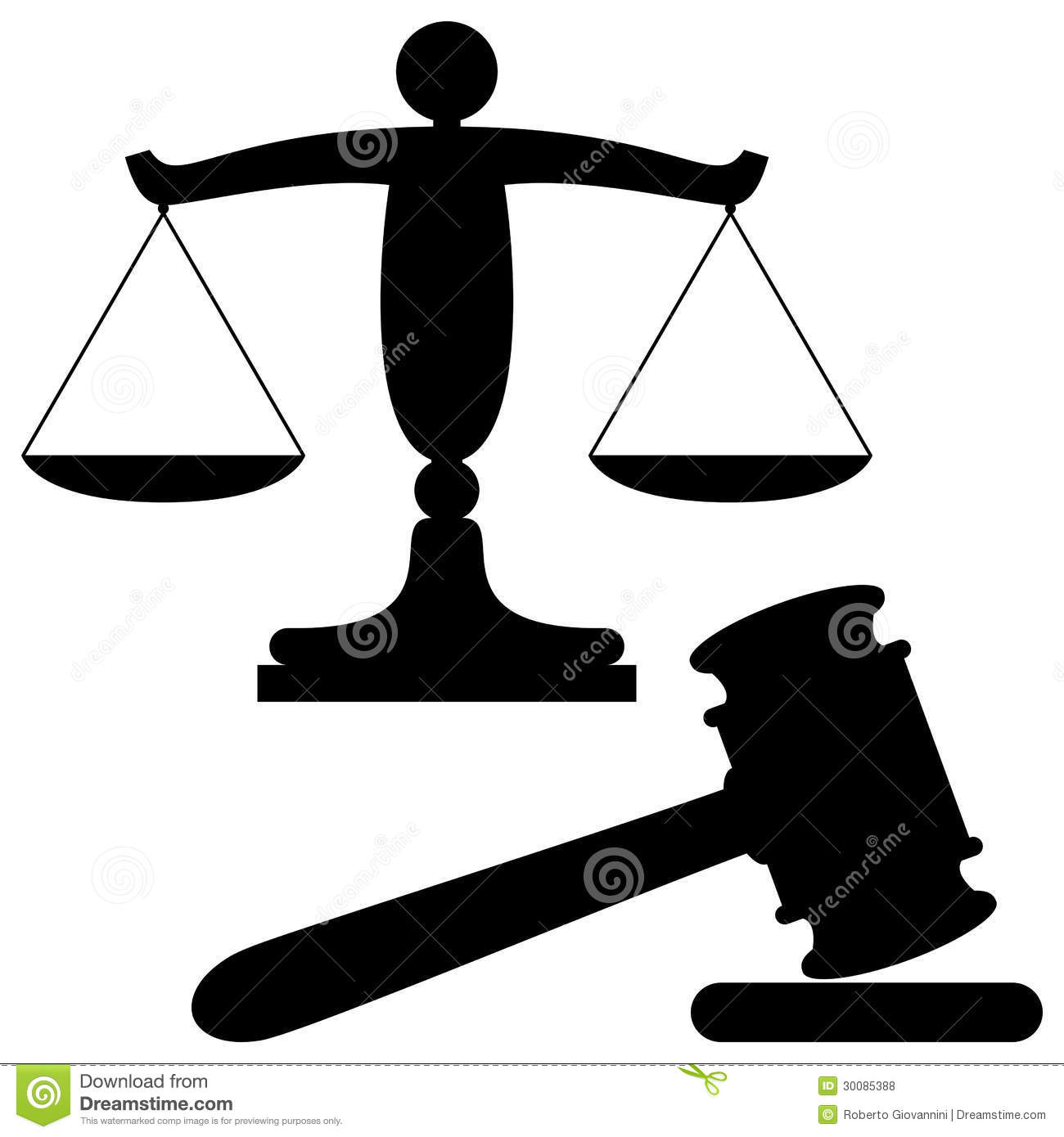 Scales Of Justice And Gavel Black Silhouette Symbols Isolated On