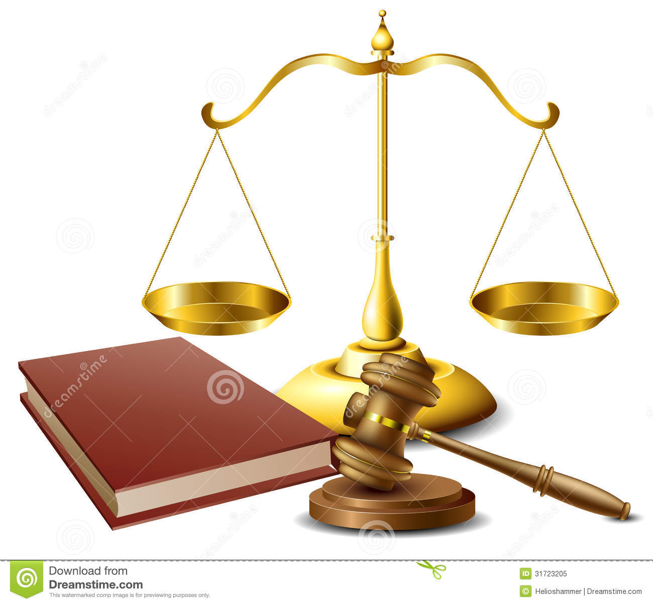 Scales Of Justice And Gavel Clipart Law Related Object Set Book