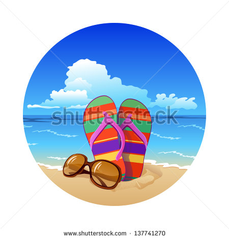 Summer Beach Colorful Flip Flops With Sunglasses Rasterized Bitmap