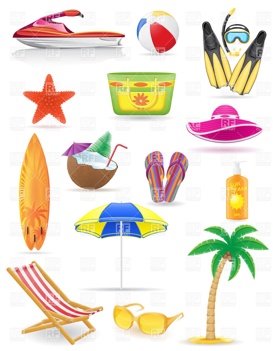 Summer Vacation   Icons Of Beach Attributes Holiday Download Royalty