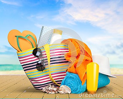 Vacations Summer Beach Bag Sunglasses Isolated Fun Suntan Lotion