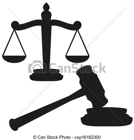 Vector   Scales Of Justice And Gavel   Stock Illustration Royalty