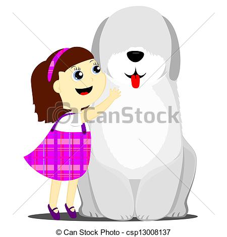 Vectors Of Girl And Dog   A Happy Little Girl Hugging A Big Dog