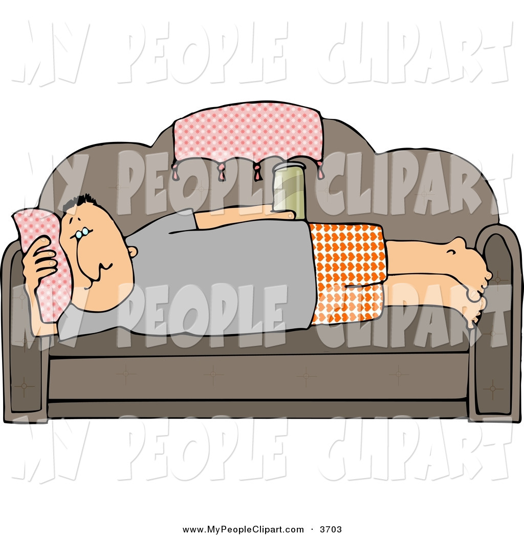 Clip Art Of A Lazy Male Couch Potato Laying On His Couch Watching Tv
