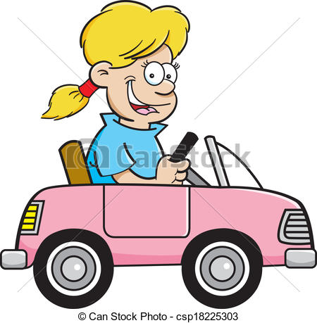 Clipart Of Cartoon Girl In A Toy Car   Cartoon Illustration Of A Girl