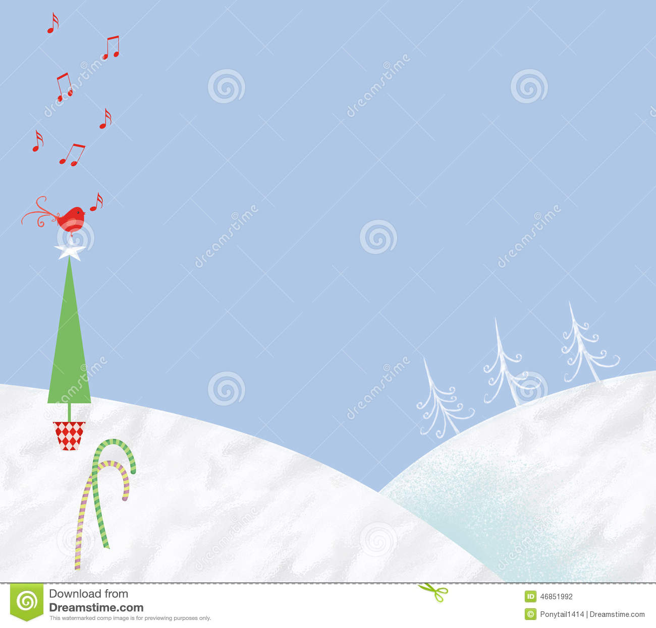 Cute Winter Scene With Small Red Bird Stock Illustration   Image