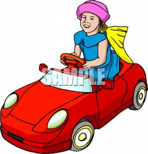 Girl Driving A Battery Powered Car   Royalty Free Clipart Picture