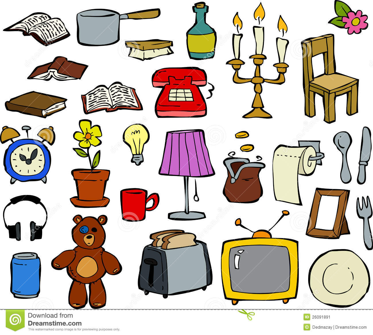 Household Items Doodle Design Elements Vector