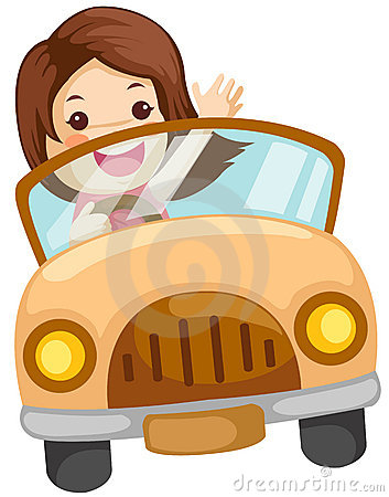 Illustration Of Isolated Girl Driving A Car On White Background