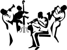 Jazz Clipart Jazz Quartet Stylized Musicians Silhouettes Upright Bass