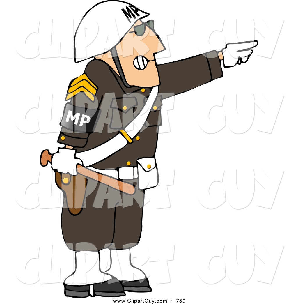 Larger Preview  Clip Art Of An Angry Male Military Police Officer