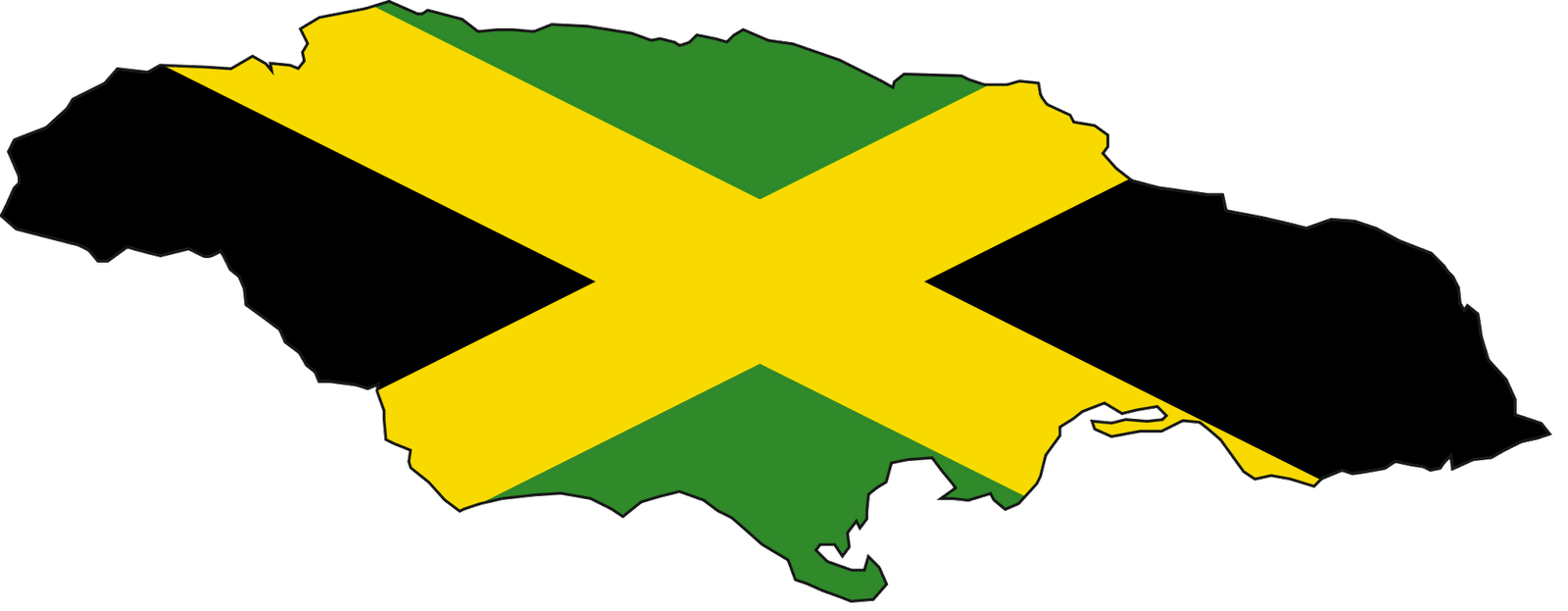 Map Of Jamaican Country With Flag Of Jamaica