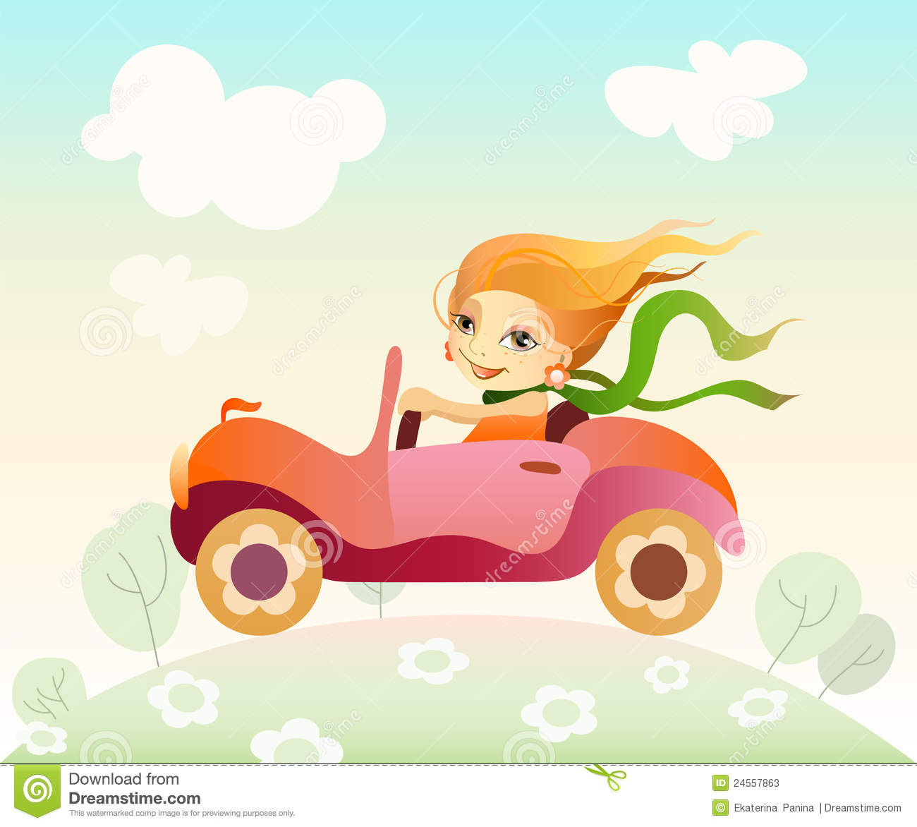 More Similar Stock Images Of   Girl Driving Car