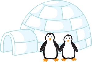 Penguins Clipart Image   Two Cute Penguins Standing In Front Of An