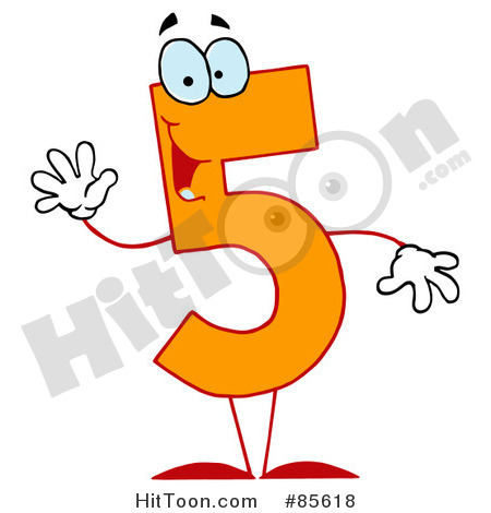 Rf  Clipart Illustration Of A Friendly Orange Number 5 Five Guy  85618