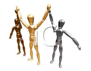Three 3d Men Giving The High Five   Royalty Free Clipart Picture