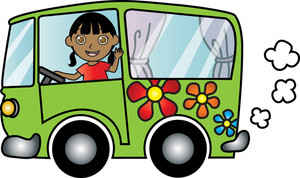Van Clipart Image   Clipart Illustration Of A Girl Driving A Van With